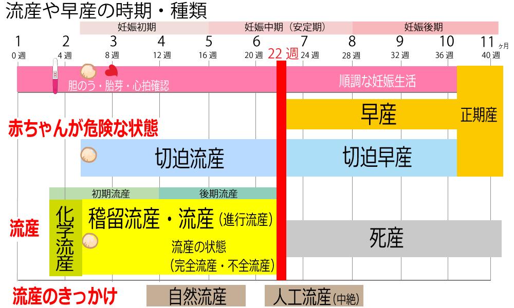 流産のいつからいつまで時期、切迫流産、切迫早産、稽留流産、化学流産、初期流産、後期流産の一覧表